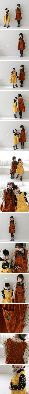 CHOUETTE - Korean Children Fashion - #Kfashion4kids - Flower Embroidery Corduroy One-piece