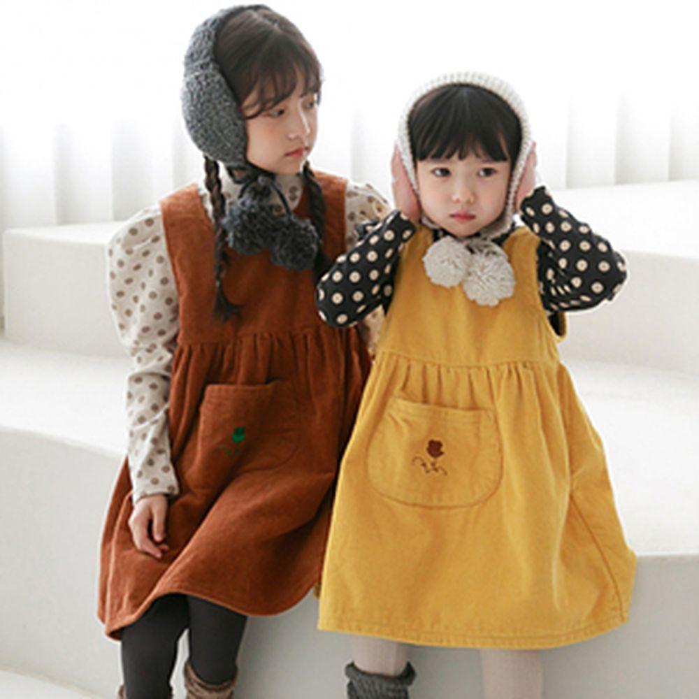 CHOUETTE - BRAND - Korean Children Fashion - #Kfashion4kids - Flower Embroidery Corduroy One-piece