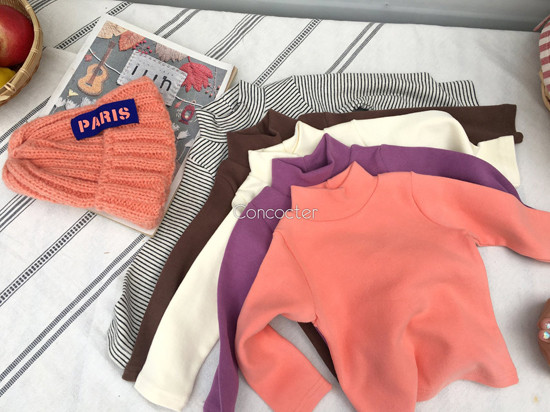 CONCOCTER - Korean Children Fashion - #Kfashion4kids - Peach Turtleneck Tee