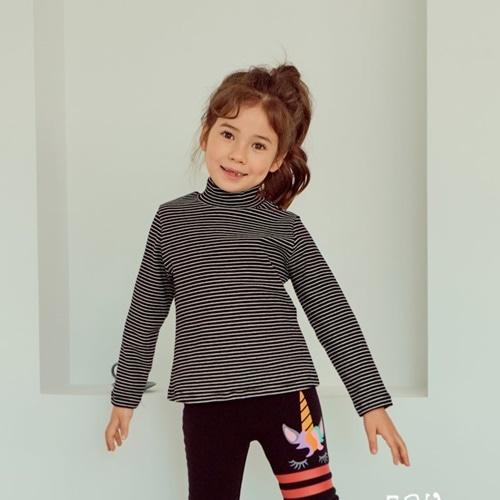 E.RU - BRAND - Korean Children Fashion - #Kfashion4kids - Stripe Turtleneck Tee