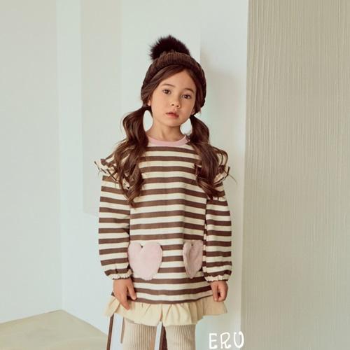 E.RU - BRAND - Korean Children Fashion - #Kfashion4kids - Line Heart One-piece