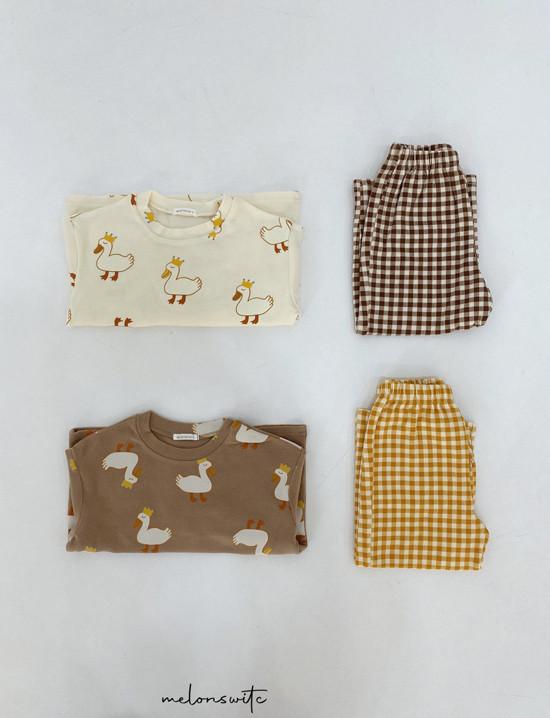 MELONSWITCH - Korean Children Fashion - #Kfashion4kids - Duck Check Top Bottom Set