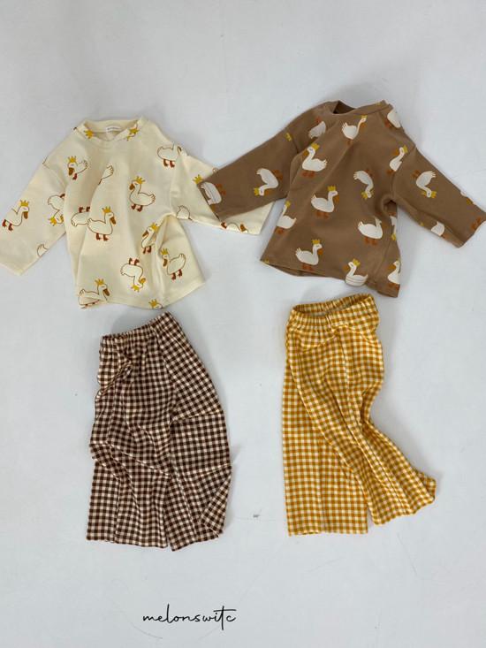 MELONSWITCH - Korean Children Fashion - #Kfashion4kids - Duck Check Top Bottom Set - 10