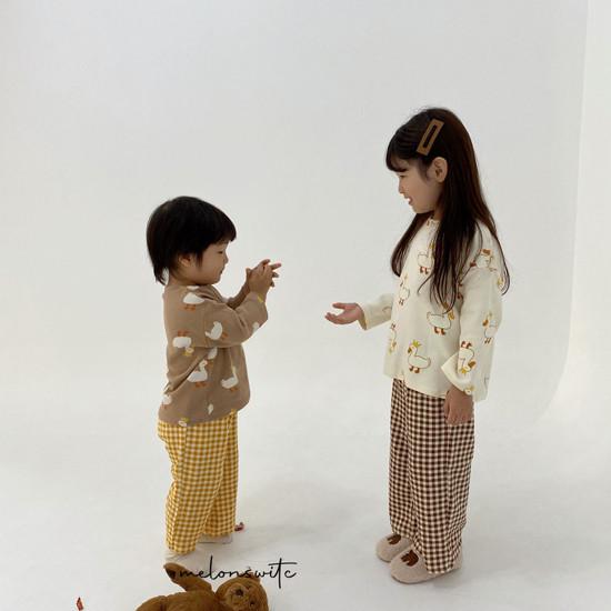MELONSWITCH - Korean Children Fashion - #Kfashion4kids - Duck Check Top Bottom Set - 2