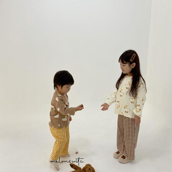 MELONSWITCH - Korean Children Fashion - #Kfashion4kids - Duck Check Top Bottom Set - 4