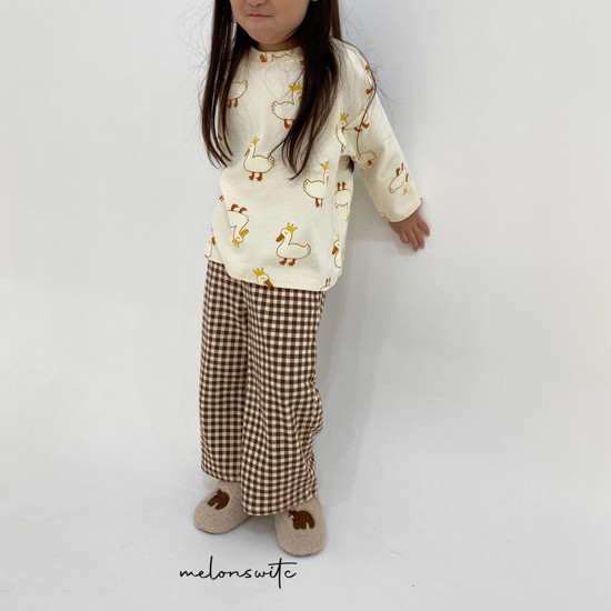 MELONSWITCH - Korean Children Fashion - #Kfashion4kids - Duck Check Top Bottom Set - 5