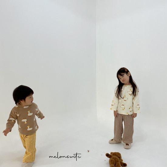MELONSWITCH - Korean Children Fashion - #Kfashion4kids - Duck Check Top Bottom Set - 6
