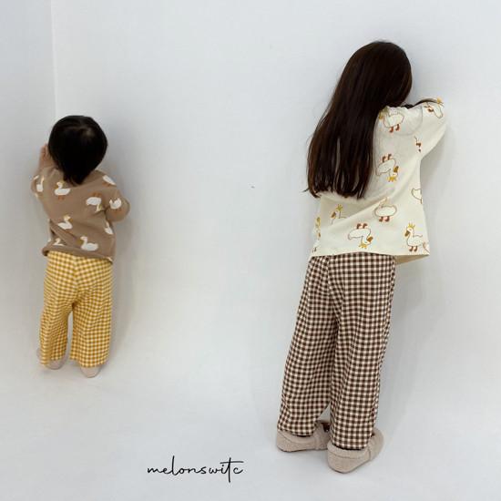 MELONSWITCH - Korean Children Fashion - #Kfashion4kids - Duck Check Top Bottom Set - 7