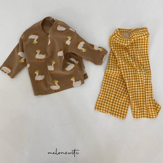 MELONSWITCH - Korean Children Fashion - #Kfashion4kids - Duck Check Top Bottom Set - 8