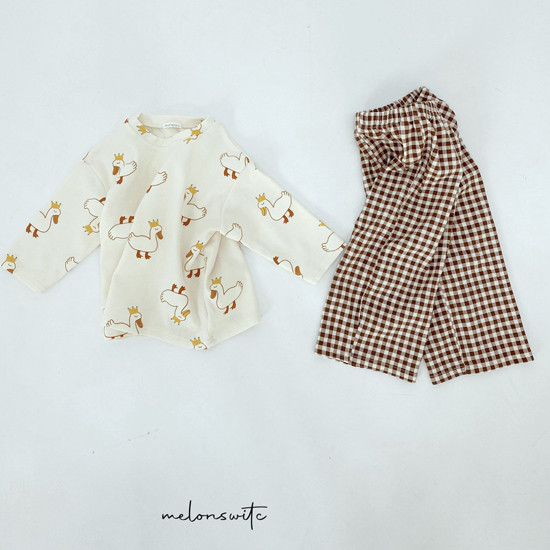 MELONSWITCH - Korean Children Fashion - #Kfashion4kids - Duck Check Top Bottom Set - 9
