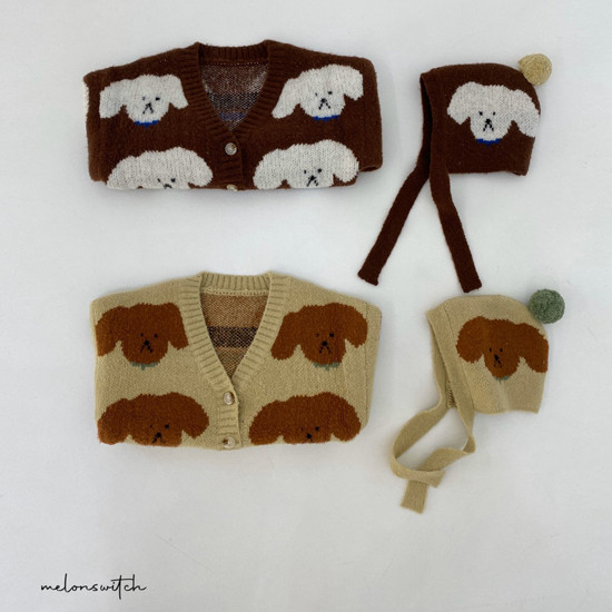MELONSWITCH - Korean Children Fashion - #Kfashion4kids - Puppy Knit Cardigan