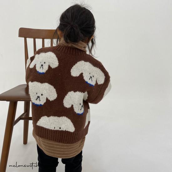 MELONSWITCH - Korean Children Fashion - #Kfashion4kids - Puppy Knit Cardigan - 5
