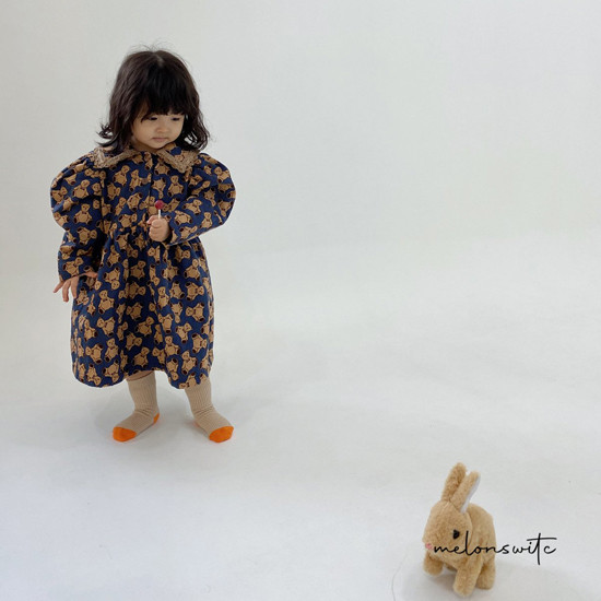 MELONSWITCH - Korean Children Fashion - #Kfashion4kids - Bear Cake Bonding One-piece - 12