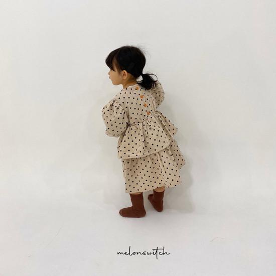 MELONSWITCH - Korean Children Fashion - #Kfashion4kids - Dot Puff Corduroy One-piece