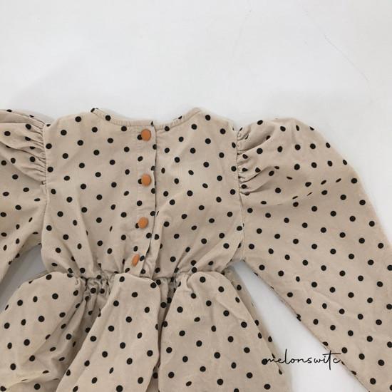 MELONSWITCH - Korean Children Fashion - #Kfashion4kids - Dot Puff Corduroy One-piece - 10