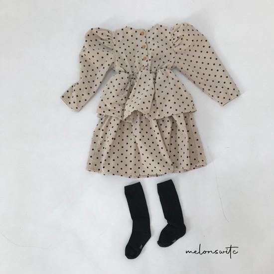 MELONSWITCH - Korean Children Fashion - #Kfashion4kids - Dot Puff Corduroy One-piece - 11
