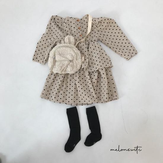 MELONSWITCH - Korean Children Fashion - #Kfashion4kids - Dot Puff Corduroy One-piece - 12