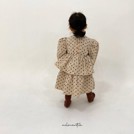 MELONSWITCH - Korean Children Fashion - #Kfashion4kids - Dot Puff Corduroy One-piece - 2