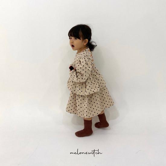 MELONSWITCH - Korean Children Fashion - #Kfashion4kids - Dot Puff Corduroy One-piece - 3