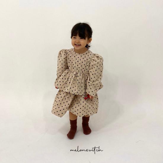 MELONSWITCH - Korean Children Fashion - #Kfashion4kids - Dot Puff Corduroy One-piece - 4