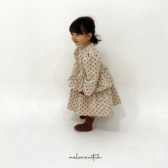 MELONSWITCH - Korean Children Fashion - #Kfashion4kids - Dot Puff Corduroy One-piece - 5