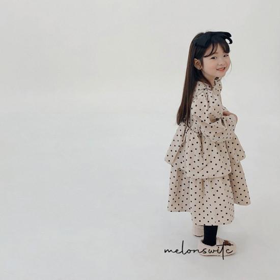 MELONSWITCH - Korean Children Fashion - #Kfashion4kids - Dot Puff Corduroy One-piece - 6