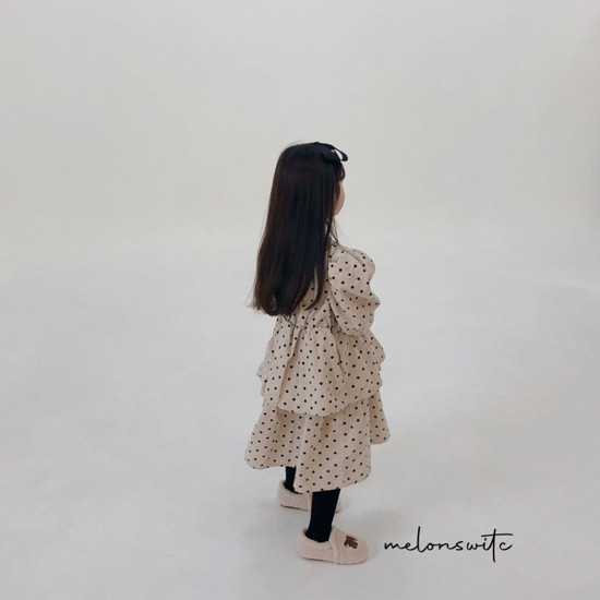 MELONSWITCH - Korean Children Fashion - #Kfashion4kids - Dot Puff Corduroy One-piece - 8
