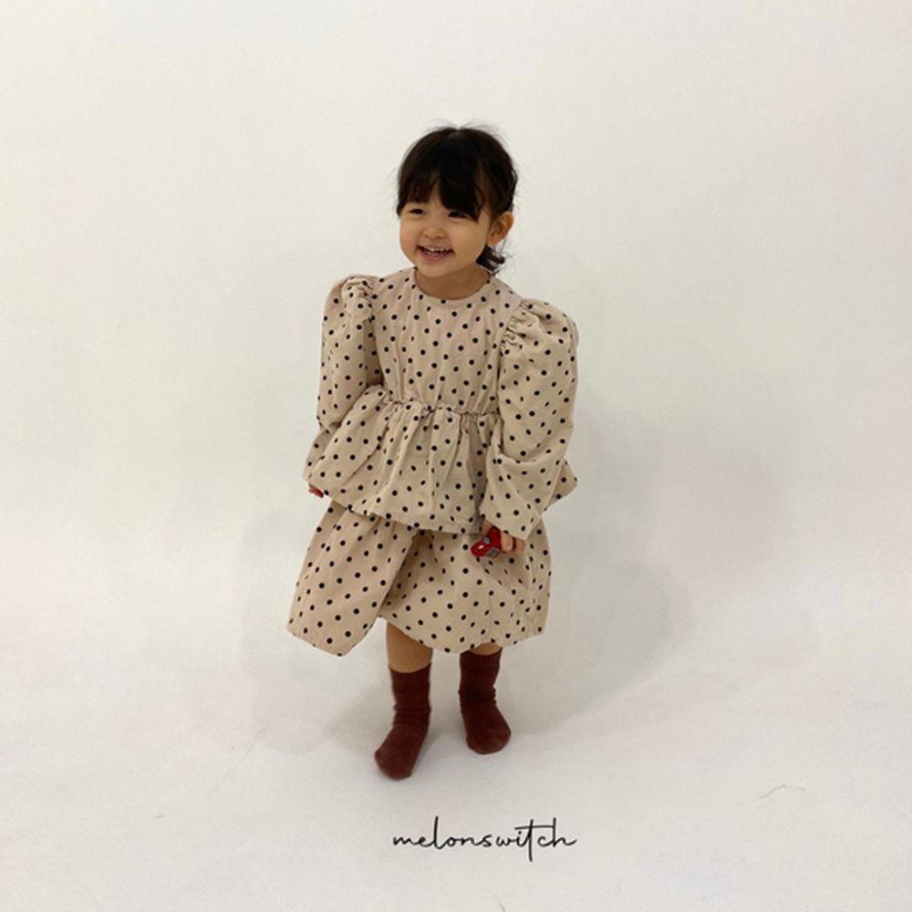 MELONSWITCH - BRAND - Korean Children Fashion - #Kfashion4kids - Dot Puff Corduroy One-piece