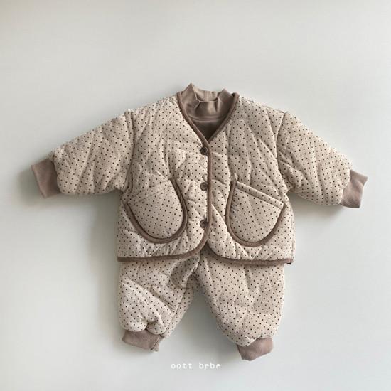 OOTT BEBE - Korean Children Fashion - #Kfashion4kids - Dot Padding Top Bottom Set - 4