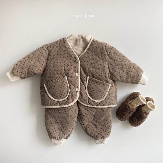OOTT BEBE - Korean Children Fashion - #Kfashion4kids - Dot Padding Top Bottom Set - 5