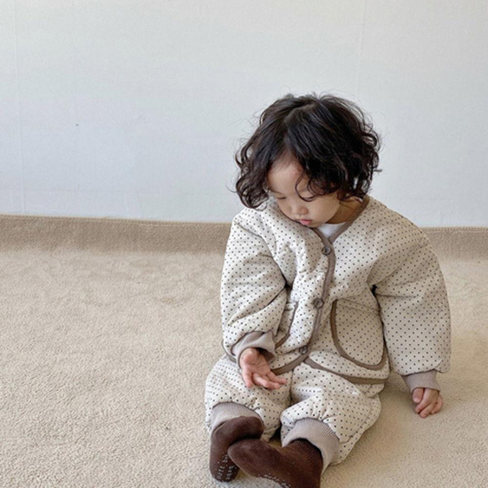OOTT BEBE - BRAND - Korean Children Fashion - #Kfashion4kids - Dot Padding Top Bottom Set