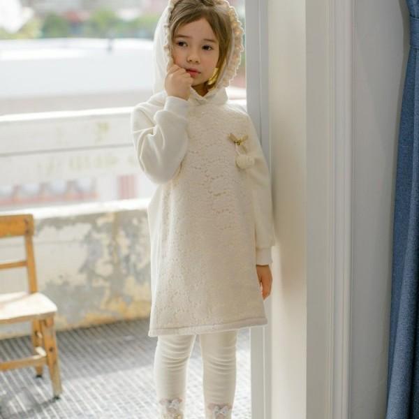 PUDDING - BRAND - Korean Children Fashion - #Kfashion4kids - Hoodie Lace One-piece