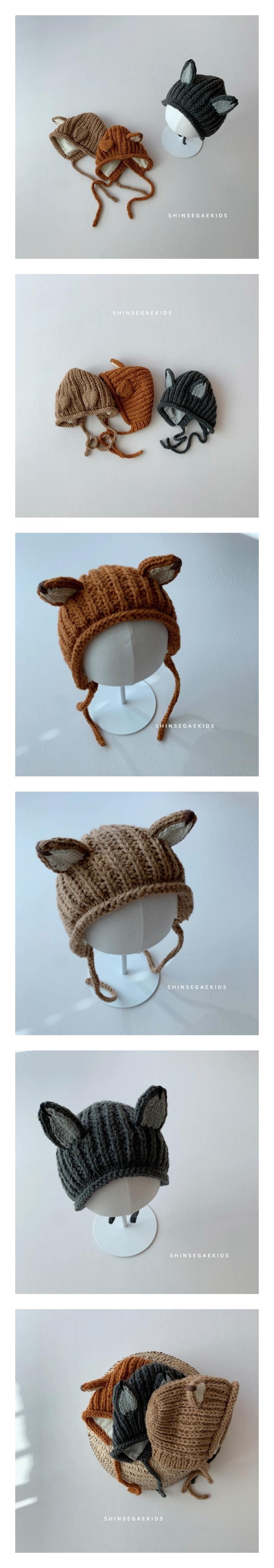 SHINSEAGE KIDS - Korean Children Fashion - #Kfashion4kids - Fox Knit Bonnet