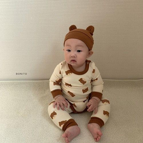 BONITO - BRAND - Korean Children Fashion - #Kfashion4kids - Bear Romper with Hat & Leggings