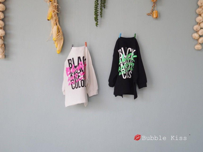 BUBBLE KISS - Korean Children Fashion - #Kfashion4kids - Black Long Tee