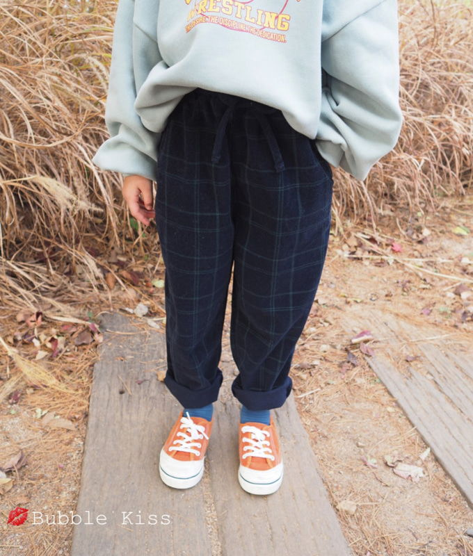 BUBBLE KISS - BRAND - Korean Children Fashion - #Kfashion4kids - Check Corduroy Pants
