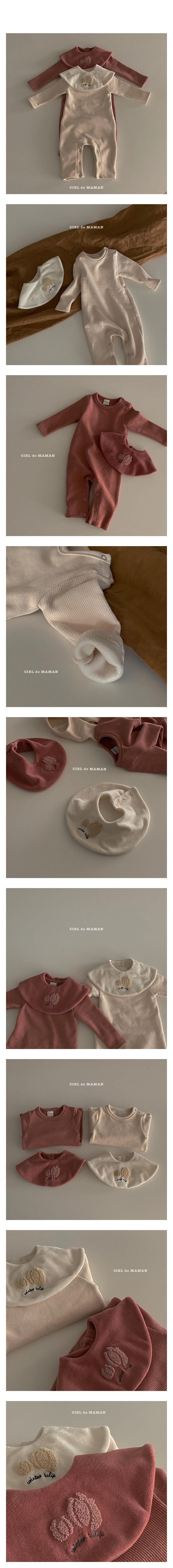 CIEL DE MAMAN - Korean Children Fashion - #Kfashion4kids - Tulip Embroidery Bodysuit with Cape