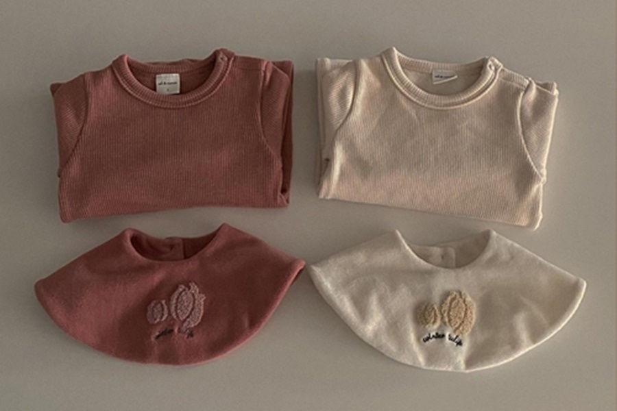 CIEL DE MAMAN - BRAND - Korean Children Fashion - #Kfashion4kids - Tulip Embroidery Bodysuit with Cape