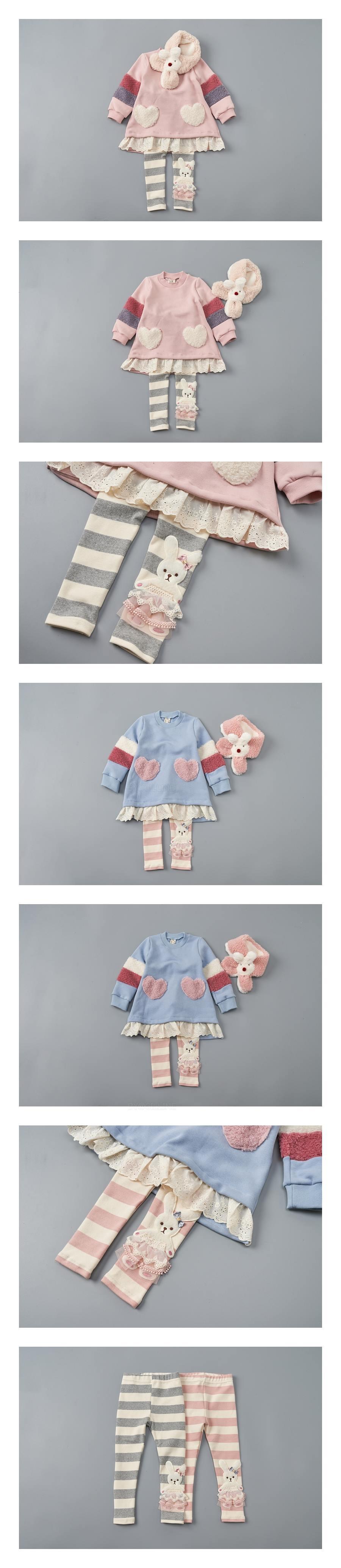 JAM - Korean Children Fashion - #Kfashion4kids - Stripe Rabbit Leggings