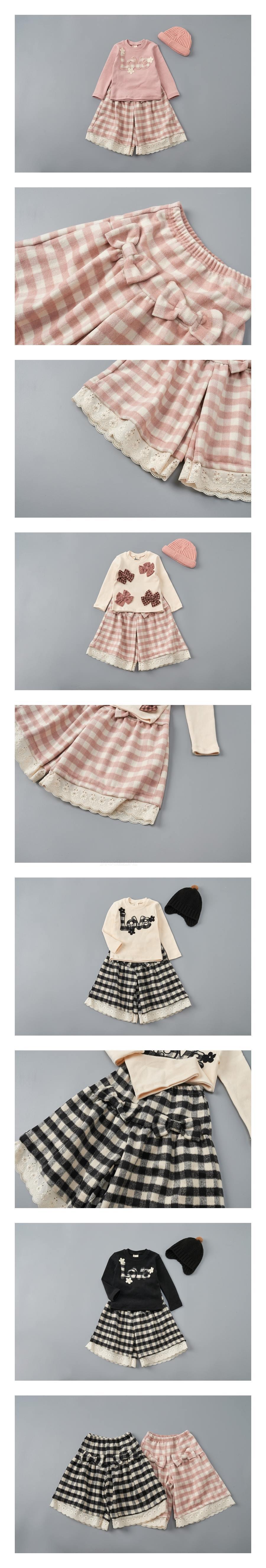 JAM - Korean Children Fashion - #Kfashion4kids - Check Ribbon Pants