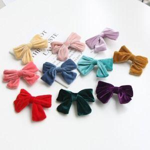 JIREH BOW - BRAND - Korean Children Fashion - #Kfashion4kids - Velvet Ribbon Hairpin [set of 10]
