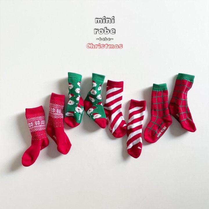 MINI ROBE - Korean Children Fashion - #Kfashion4kids - Santa Bebe Socks [set of 4]