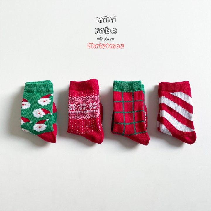 MINI ROBE - Korean Children Fashion - #Kfashion4kids - Santa Bebe Socks [set of 4] - 10