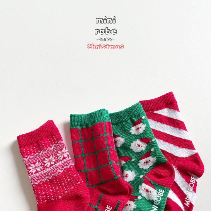 MINI ROBE - Korean Children Fashion - #Kfashion4kids - Santa Bebe Socks [set of 4] - 11