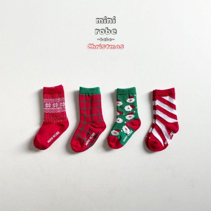 MINI ROBE - Korean Children Fashion - #Kfashion4kids - Santa Bebe Socks [set of 4] - 4