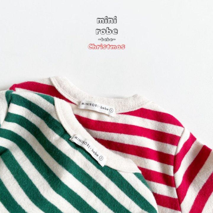 MINI ROBE - Korean Children Fashion - #Kfashion4kids - Santa Stripe Bodysuit - 11