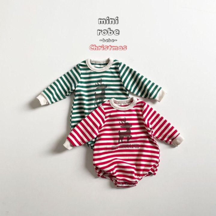 MINI ROBE - Korean Children Fashion - #Kfashion4kids - Santa Stripe Bodysuit - 3