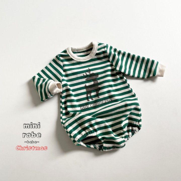 MINI ROBE - Korean Children Fashion - #Kfashion4kids - Santa Stripe Bodysuit - 6