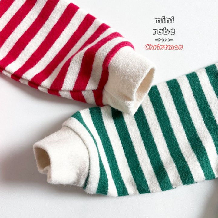 MINI ROBE - Korean Children Fashion - #Kfashion4kids - Santa Stripe Bodysuit - 9