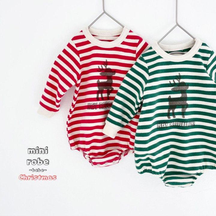 MINI ROBE - BRAND - Korean Children Fashion - #Kfashion4kids - Santa Stripe Bodysuit